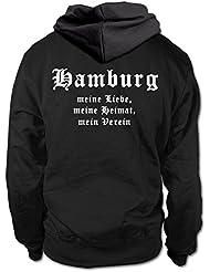 shirtloge - HAMBURG - Meine Liebe, meine Heimat, mein Verein - Fan Kapuzenpullover - Größe S - 3XL