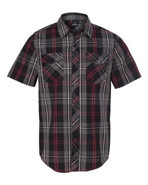B9202 BU MENS SS PLAID WOVEN SHIRT RED/ BLACK XL