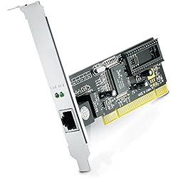 CSL - Tarjeta de Red PCI Gigabit LAN/Adaptador Fast Ethernet 10/100/1000 DSL Realtek   2000 Mbit (dúplex Completo)   32 bits   Bus PCI 2.2