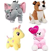 Soniya Enterprises Pack of 4 Elegant Soft Toys Combo Set Bull Dog , Pink Balloon , Yellow Unicorn , Grey Mother Elephant…