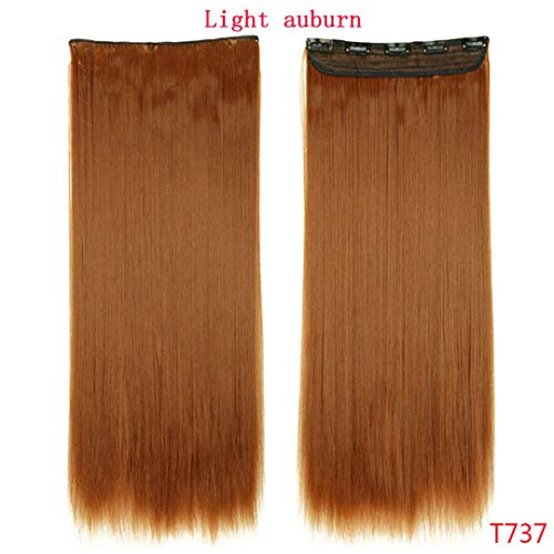 Fall To Waist 46-76 Cm Längster Clip In Haarverlängerungen One Piece Real Natural Thick Synthetic Hair Extention Light Auburn 26Inches