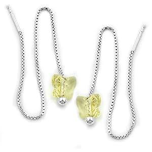 Jewelry Earrings Thread earrings butterfly from 925 silver 115x8mm