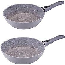 2er Set culinario Bratpfanne Ø26 und 28 cm in grauer Granit-Optik, mit abnehmbarem Griff und ILAG GRANITEC Beschichtung