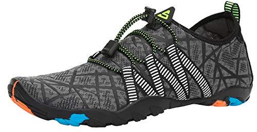 SAGUARO Escarpines Zapatos de Agua Calzado Playa Zapatillas Deportes Acuáticos para Buceo Snorkel Surf Natación Piscina Vela Mares Rocas Río para Hombre Mujer (019 Gris,43 EU)