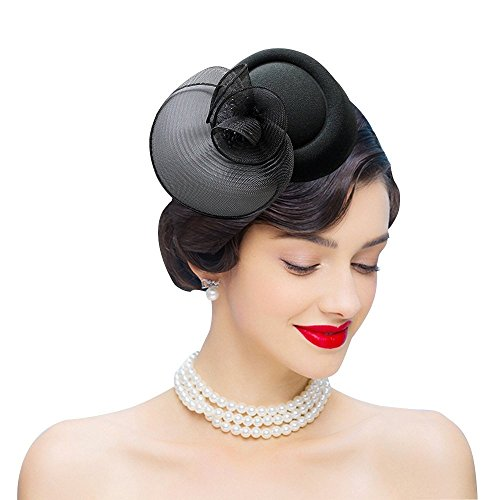 Edith qi Damen 50er Hut Jahre Retro Vintage Fascinators, Wollfilz Pillbox mit Haarspange