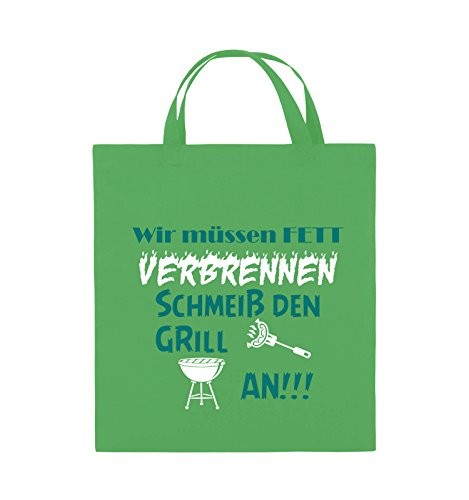 Comedy Bags - Wir müssen Fett verbrennen schmeiß den Grill an!!! - Jutebeutel - kurze Henkel - 38x42cm - Farbe: Schwarz / Weiss-Neongrün Grün / Türkis-Weiss