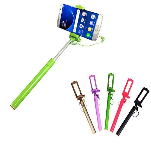 Selfie Stick | für MEDION LIFE E5020 | mit integriertem Selbstauslöser | ohne Akku | Mini und Zeitlos | Selfies 1 Grün