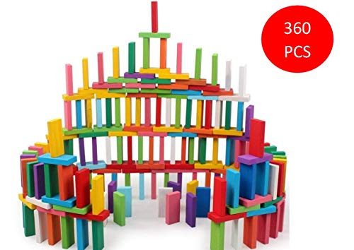 Blossom Pack of 3 (120 Pcs Each Pack) Colorful Wooden Domino Set for Kids Colourful Wooden Dominos Toy Colourful Wooden Blocks