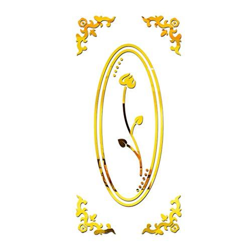 (Carolui Lotus Wandtattoo 3D Ellipse Spiegelfläche Diy Moderne Kreative AcrylicWandposter Dekorative Tapete(Gold-M))