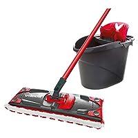 Vileda UltraMax Flat Mop and Bucket Set, Red, Multi-Colour