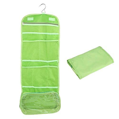 Borsa da toilette sospesa, Borsa cosmetica per lavata impermeabile per donna Uomo, organizer per trucco pieghevole con multi tasche per viaggio da casa (verde)