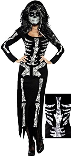 Ray Kostüm X Kind Skelett (Halloweenia - Damen Halloween Kostüm Maxikleid, Skelett X-RAY, schwarz, Big-Size)