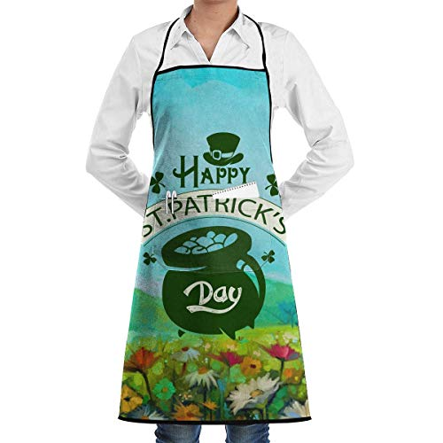 Happy St. Patrick's Day Bib Apron, Extra Long Tie Kitchen Apron with 2 Pockets, Resistant to Droplets Black Apron (Black Check Bekleidung)