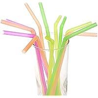 Paquete pajas de plástico para beber de 100 piezas - Apto para refrescos, jugos, té helado, leche de mantequilla y cócteles - Multicolor - (Paquete de 100 piezas), Regalo del Día de la Madre