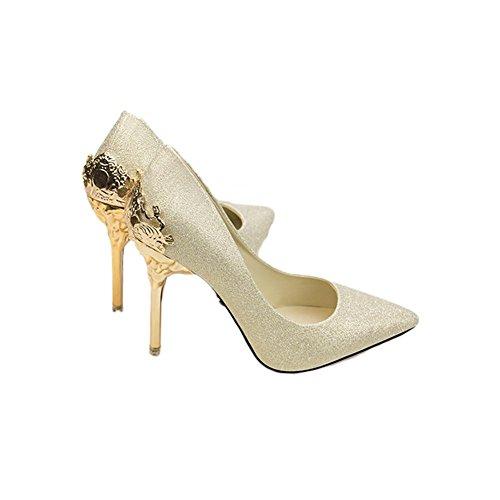 L'Europe et les chaussures sandales États-Unis chaussures de mariage chaussures de mariée métal en daim creux talons hauts ont souligné gold