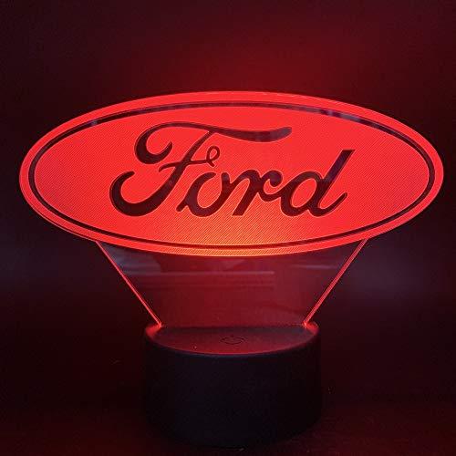 Ford 3D Illusion Nachtlicht, Led Tisch Schreibtisch Lampen, Nachtlichter, 7 Farben Usb Lade Beleuchtung Schlafzimmer Dekoration Für Kinder Weihnachten Geburtstagsgeschenk (Ford Leuchten)