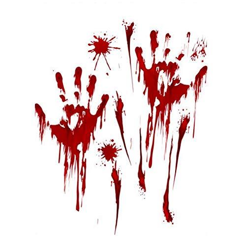 (Tdhappy Horror Aufkleber Dekor Abnehmbare Halloween Blut Handprint Glas Fenster Wohnzimmer Klassenzimmer Dekoration Wand Aufkleber, Seite Drucken)