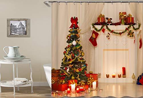 CaknQizawyy Chimenea Blanca Cortinas Árbol de Navidad Caja de Regalo roja Cinta...