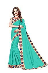 Bhuwal Fashion Womans CHANDERI silk KALAMKARI saree with Blouse (BLUE) (SKY)