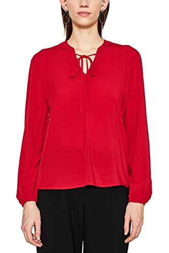 edc by ESPRIT Damen Bluse 018CC1F011, Rot (Red 630), Small