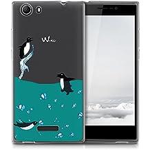 "Wiko Pulp FAB 4G Carcasa , YIGA Moda Pingüino Rociar Océano Transparente TPU Gel Cubierta De Silicona Suave Funda Tapa Case Cover para Wiko Pulp FAB 4G 5.5"""