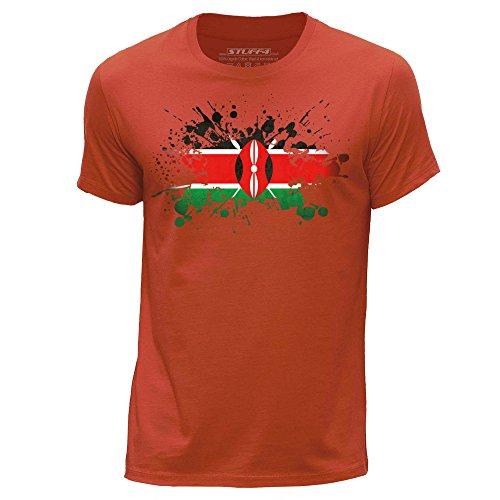 Stuff4® Herren/XX groß (XXL)/Orange/Rundhals T-Shirt/Kenia Flagge Splat - Kenia Flagge T-shirt