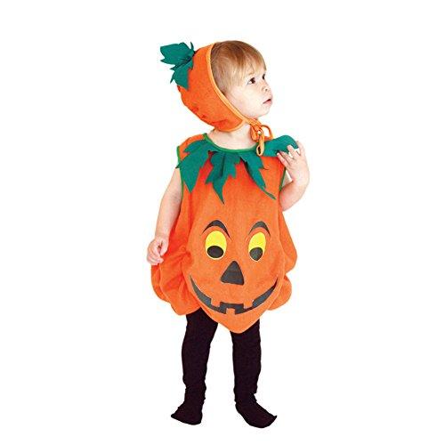 Pueri Kinder Kürbis Kostüm Halloween Kostüme für Jungen und Mädchen (S) (Halloween Kostüme Ein Jahr Alten Jungen)