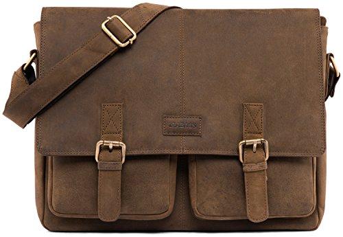 Leabags cambridge borsa a tracolla vintage in vera pelle di bufalo - nero
