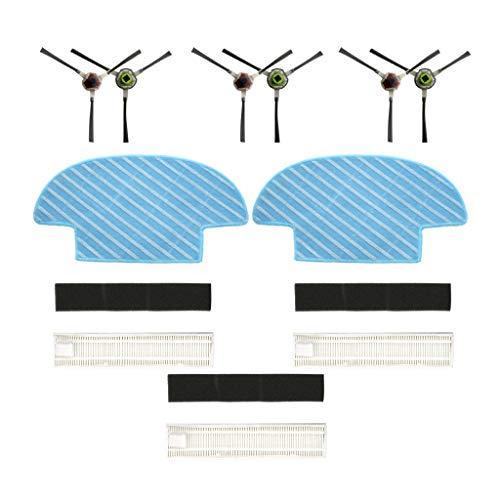 FBGood Kehrroboter Teile (3 Gruppen Filter + 3 Paar Seitenbürste + 2 Stück Mopp) für Ecovacs OZMO Slim 2 Kehrmaschinen, Original Staubsauger Ersatz Zubehör Reinigung Swerkzeugsätze Ersatzkit -