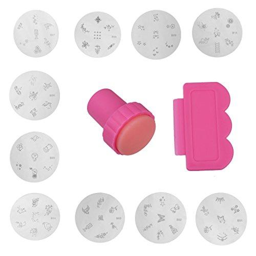 Set Tampon et Raclette Nail Art Plaque Pochoir Image Outils de Bricolage