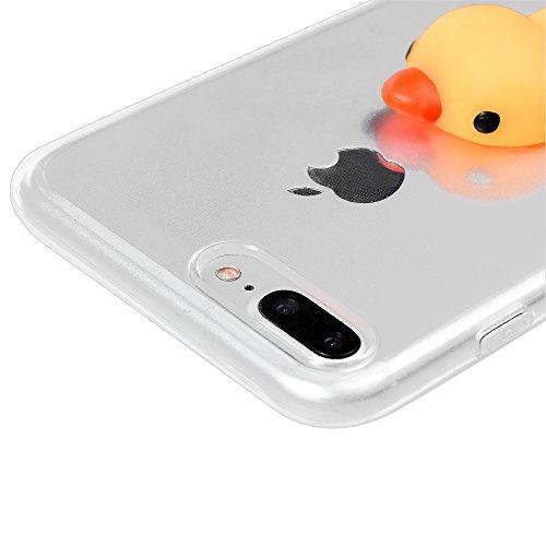 "iPhone 7 Plus Silikon Hülle YOKIRIN Crystal Clear Case Cover für iPhone 7 Plus (5.5"") Silikonhülle 3D Weiche Silikon Cartoon Figer Pinch Dekompressions Spielzeug Case Transparent TPU Silikon Handytasc Kleine gelbe Ente"