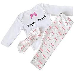 Bebé Niñas Conjuntos Blusas y Pantalones y Diadema Pijama algodón