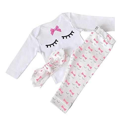 Yilaku Bebé Niñas Conjuntos Blusas y Pantalones y Diadema Pijama algodón Blanco 6-12 Meses