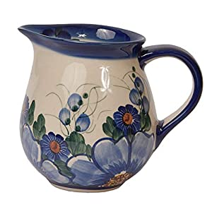 Traditional Polish Pottery, Handcrafted Ceramic Cream or Milk Jug 275ml, Boleslawiec Style Pattern, J.101.Passion