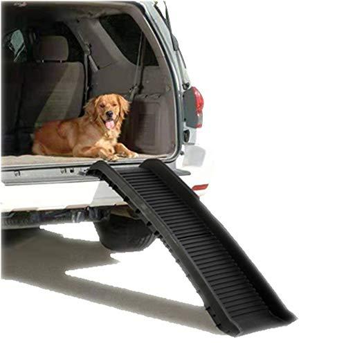 GYJ Leichte und langlebige zweifach gefaltete Haustierrampe, Petsafe Solvit Deluxe Tri-Scope-Teleskop-Haustierrampe oder Tragetasche Tragbare Hundekatze Ideal für Autos