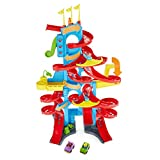 Fisher-Price FXK59 Little People Hooghuis-Racebaan en Parkeerhuis, Speelgoed, met Geluiden en 2 Speelfiguren, vanaf 18 Maanden.
