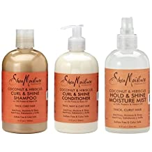 Shea Moisture Cleanse, Condition & Style Pack - Coconut & Hibiscus Curl and Shine Shampoo & Conditioner 384ml bottles & Hold and Shine Moisture Mist 236ml by Shea Moisture