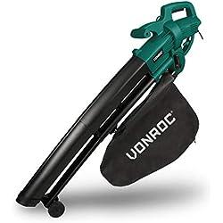 VONROC Soffiatore elettrico per foglie 3000W - 3 in 1, soffiatore, aspiratore e trituratore. Max velocità aria 270 km/h. Include borsa di raccolta da 35 litri