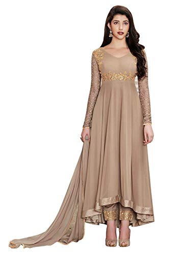 fc399e39fc4 ARIA FABRICS Women  s Faux Georgette Semi-stitched Embroidered Anarkali  Salwar Suit Material
