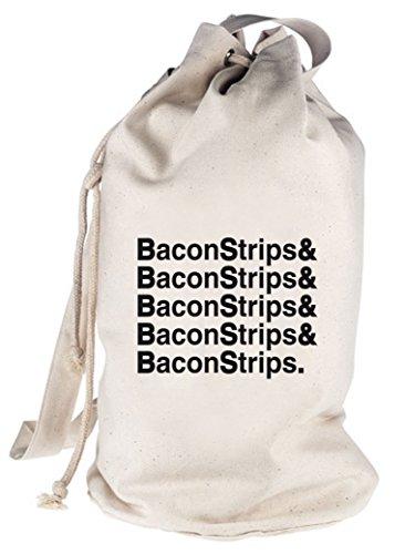 Shirtstreet24, Bacon Strips &, bedruckter Seesack Umhängetasche Schultertasche Beutel Bag Natur