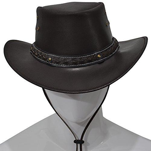 Verkleidung Bush Kostüm - AQWA New Classic Western Cowboy Hat Bush Kuh Leder Kuh Boy Mützen Band mit Hutband, braun