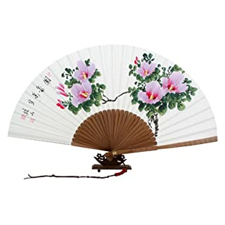 Hand Painted Folding Pink Rose of Sharon Painting Korean Mulberry Rice White Paper Bamboo Art Handheld Decorative Fan