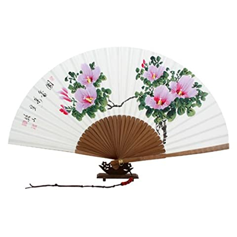 Hand Painted Folding Pink Rose of Sharon Painting Korean Mulberry Rice White Paper Bamboo Art Handheld Decorative Fan by Antique Alive Paper Fan