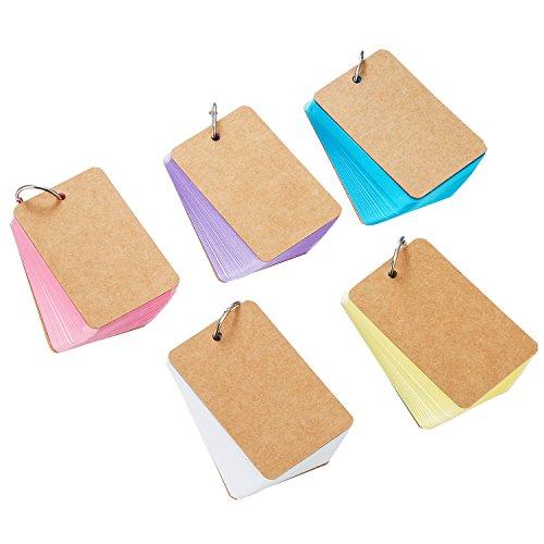 250 Stück Mehrfarbig Karte Kraftpapier Study Cards Unruled Farbige Seiten mit Binder Ring, 2,2 x 3,5 Zoll
