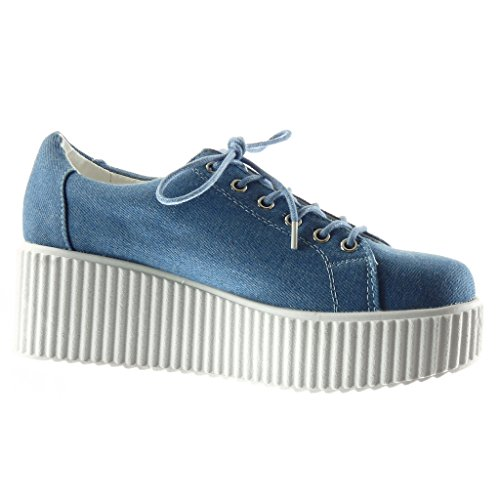Angkorly Women Sneaker Shoes - Platform Shoes - Snake Skin - Coccodrillo Tacco Alto 6 Cm Blu