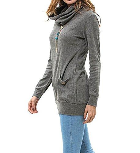 Zlande Automne Hiver Femme Tops à Manches Longues Sportswear Hooded Casual Poche Sports Sweats à Capuche Pull Hoodie Sweat-Shirt Gris foncé