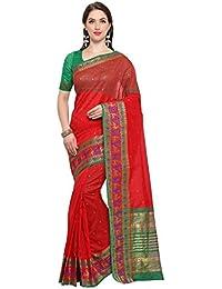 G Stuff Fashion Women's Cotton Saree With Blouse Piece (Ta-48_Red Bear Saree_Red)