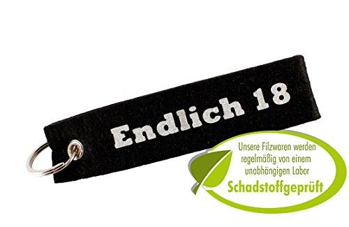 Endlich 18 Filz Schlüsselanhänger, Autoschlüssel als Geschenk zum 18. Geburtstag/zur Volljährigkeit. Schwarz/Silber.
