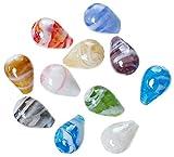 Sadingo Glasperlen tropfenform, 30 Stück, 22x15 mm, Bunte Glas Bastel Material Perlen groß DIY Schmuck selber Machen