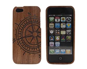 Coque de protection en bois style ancien avec motif rose des vents pour iPhone 5S